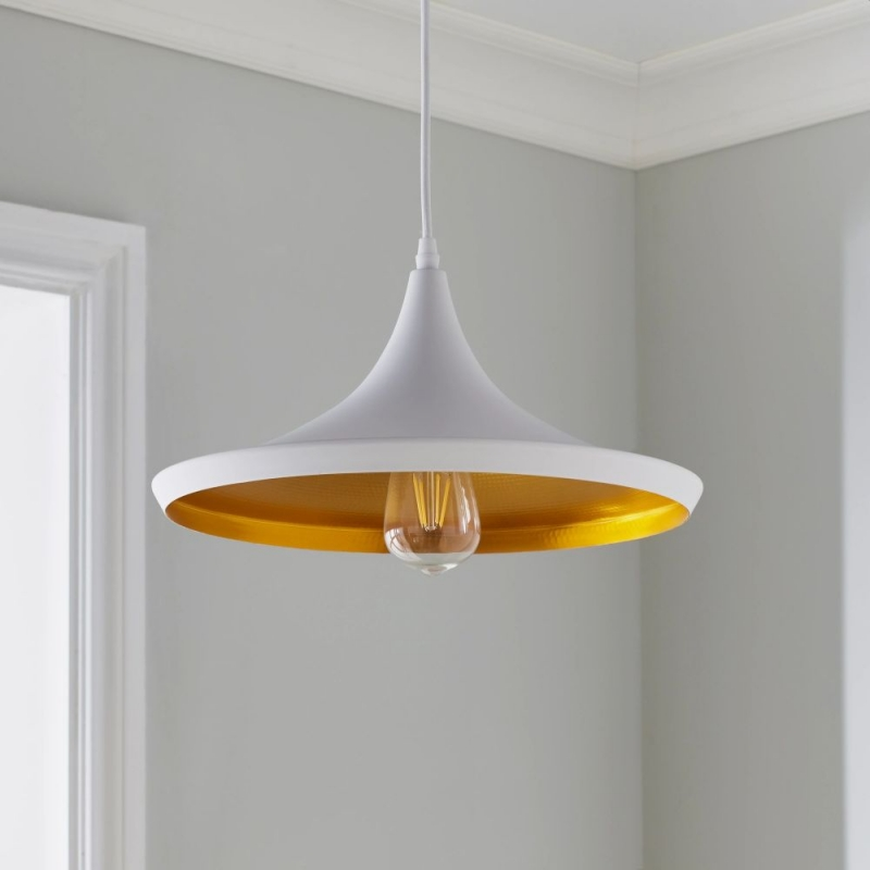 White and Gold Over Table Pendant Light