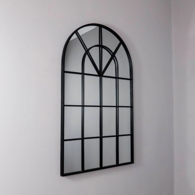 Arched Rome Black Metal Arch Wall Mirror - 60cm x 100cm