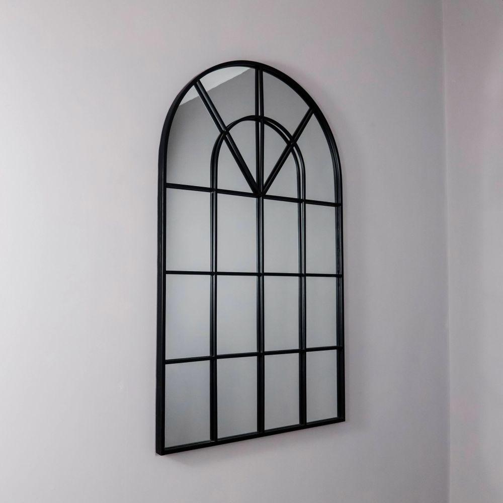 Arched Rome Black Metal Arch Wall Mirror - 60cm x 100cm