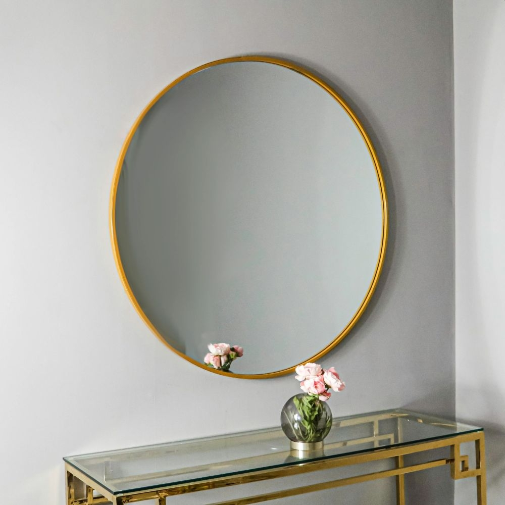 Manhattan Gold Round Wall Mirror - 80cm x 80cm