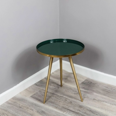 Enamel Tray Green and Gold Round Side Table