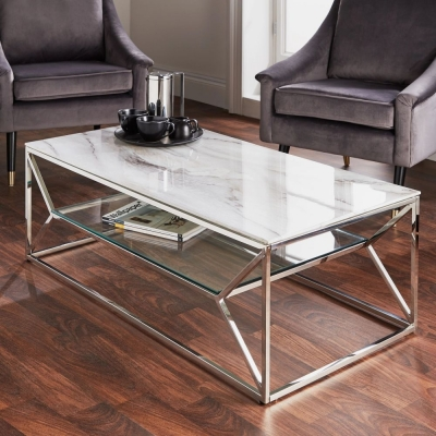 Marble Glass and Chrome Coffee Table