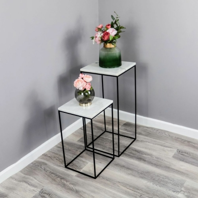 Natural Marble and Iron Square Display Table (Set of 2)