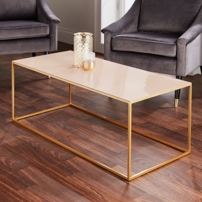 Pale Pink and Gold Coffee Table