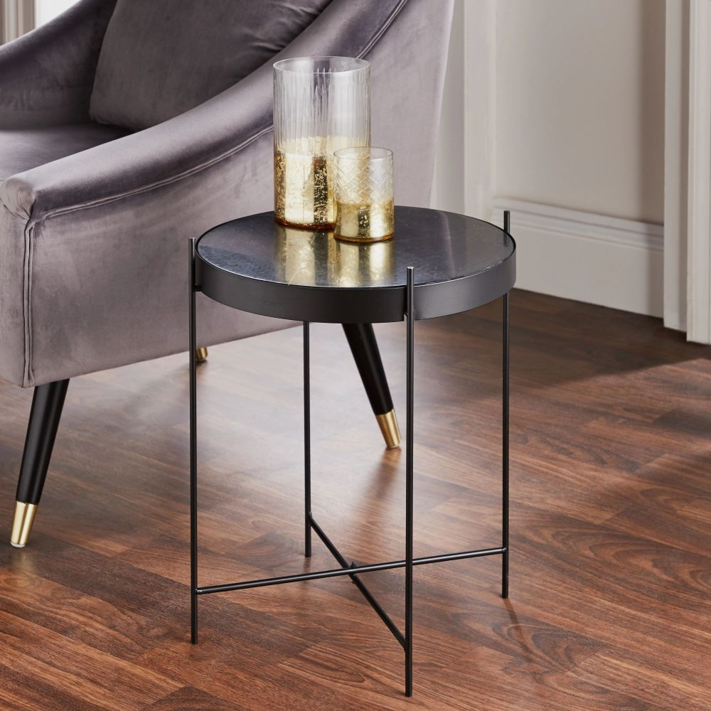 Black Marble and Metal Round Side Table