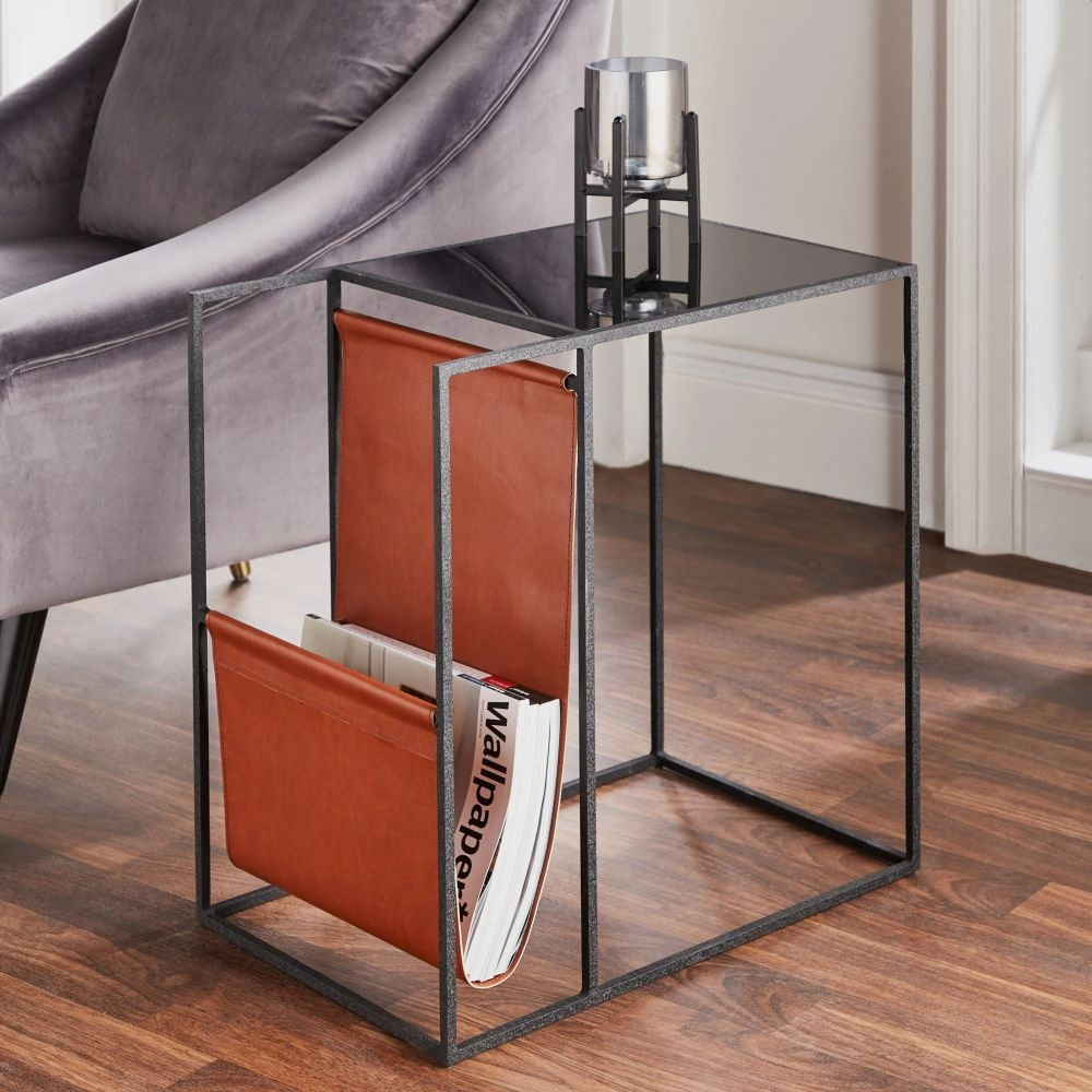 Black Metal Glass Top Side Table with Leather Magazine Holder