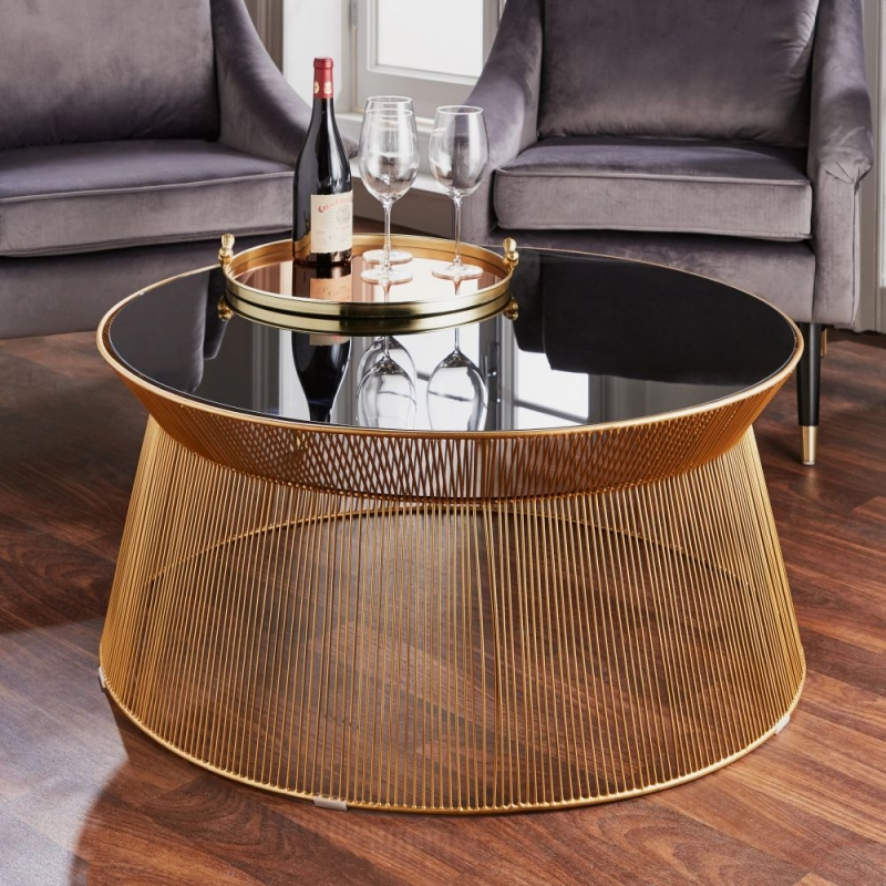 Curve Black Glass and Metal Round Coffee Table