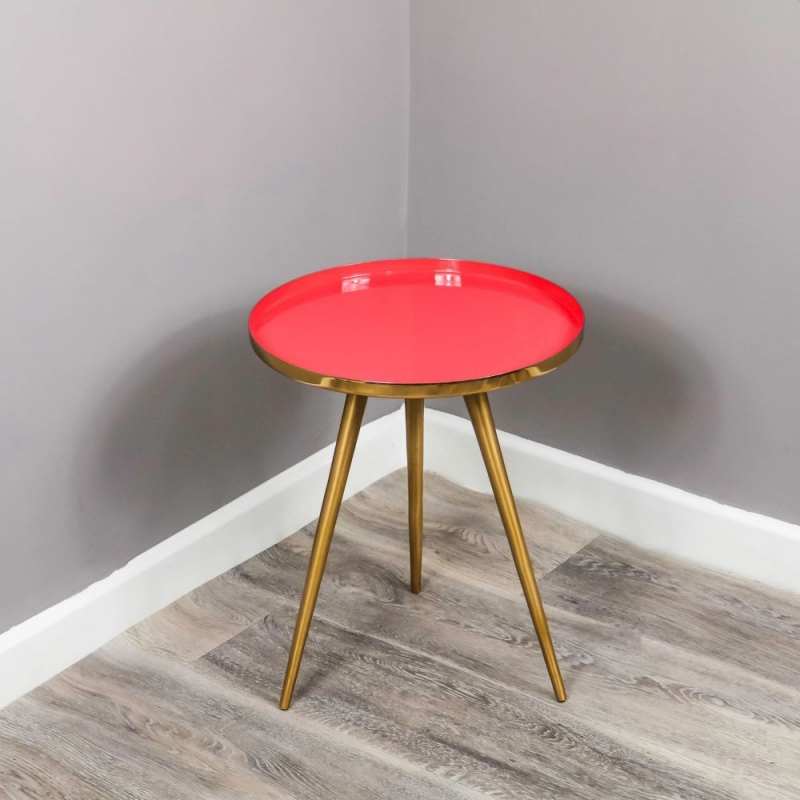 Enamel Tray Coral and Gold Round Side Table