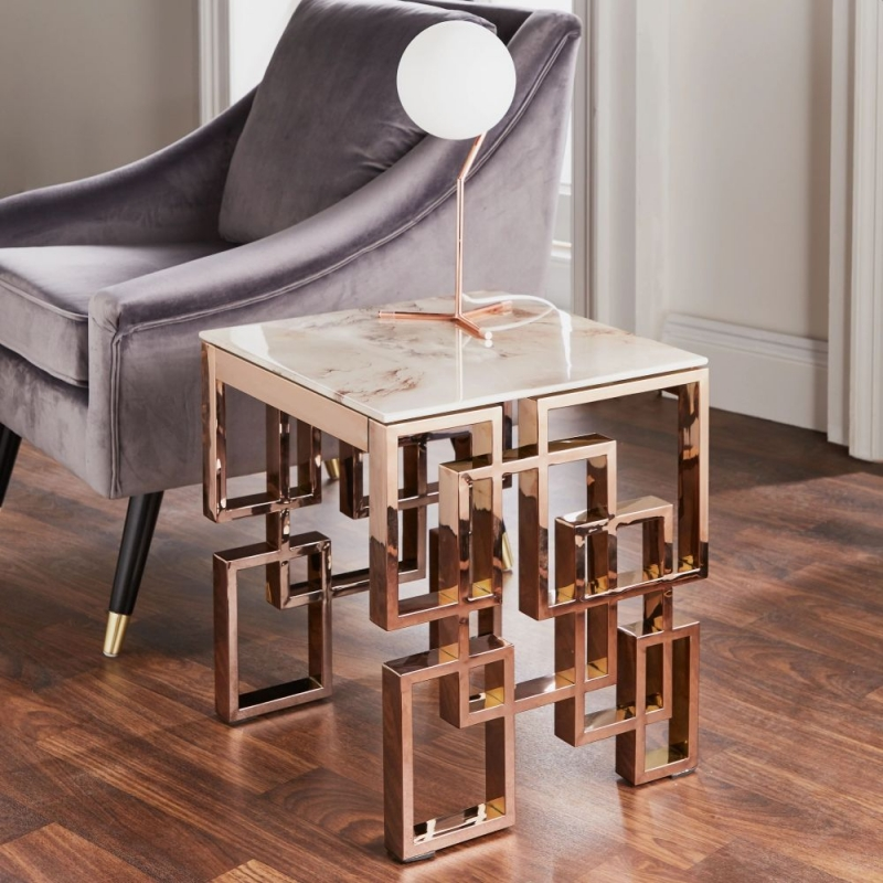 Marble Glass and Rose Gold Square Side Table