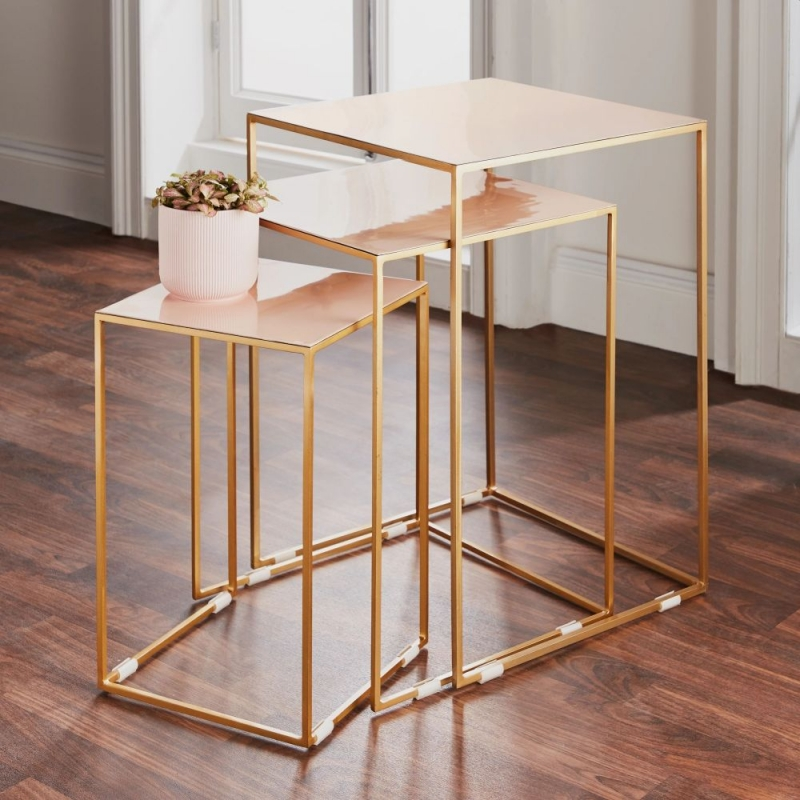 Pale Pink and Gold Nest of 3 Tables