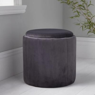 Grey Plush Round Stool