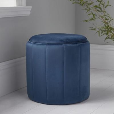 Mystique Blue Plush Round Stool