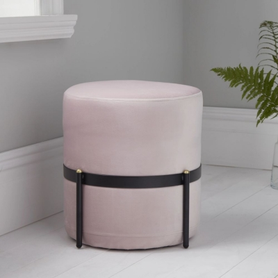 Pale Pink Velvet and Black Metal Stilts Round Stool