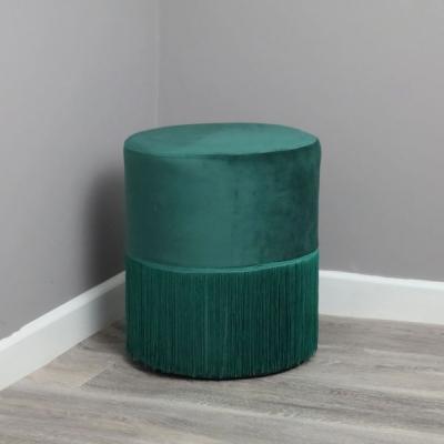 Tassles Green Velvet Fabric Round Stool