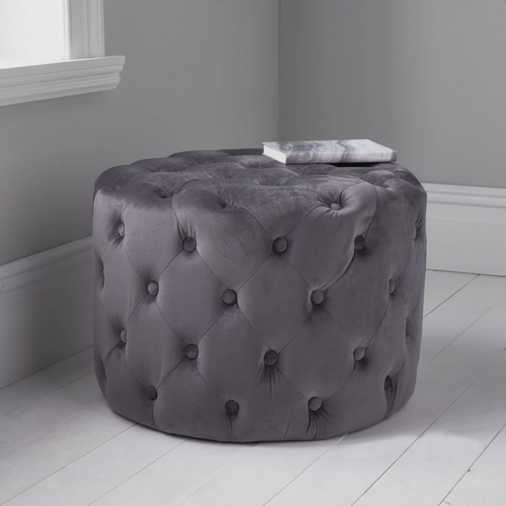 Grey Tufted Velvet Fabric Round Pouffe