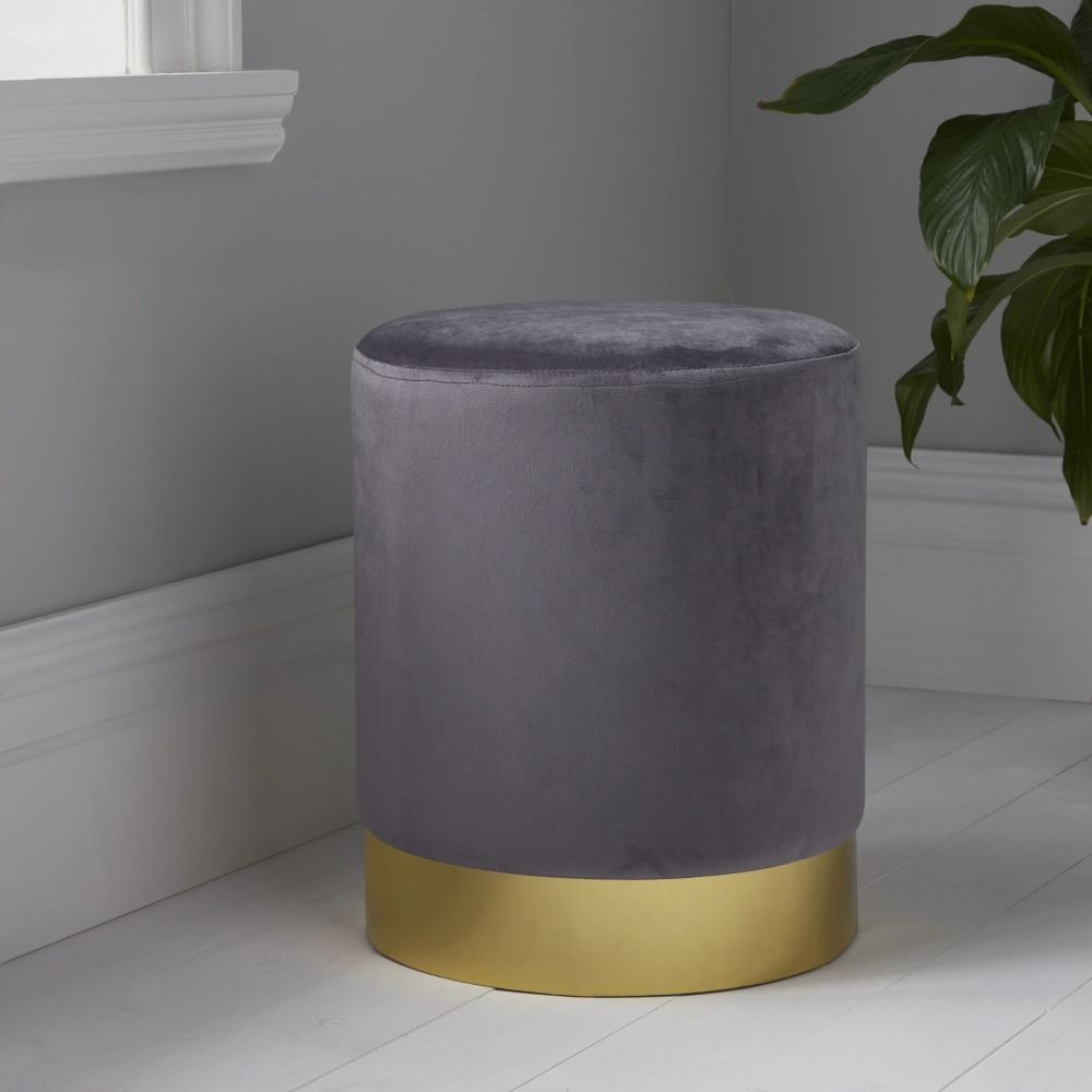 Grey Velvet and Gold Round Stool
