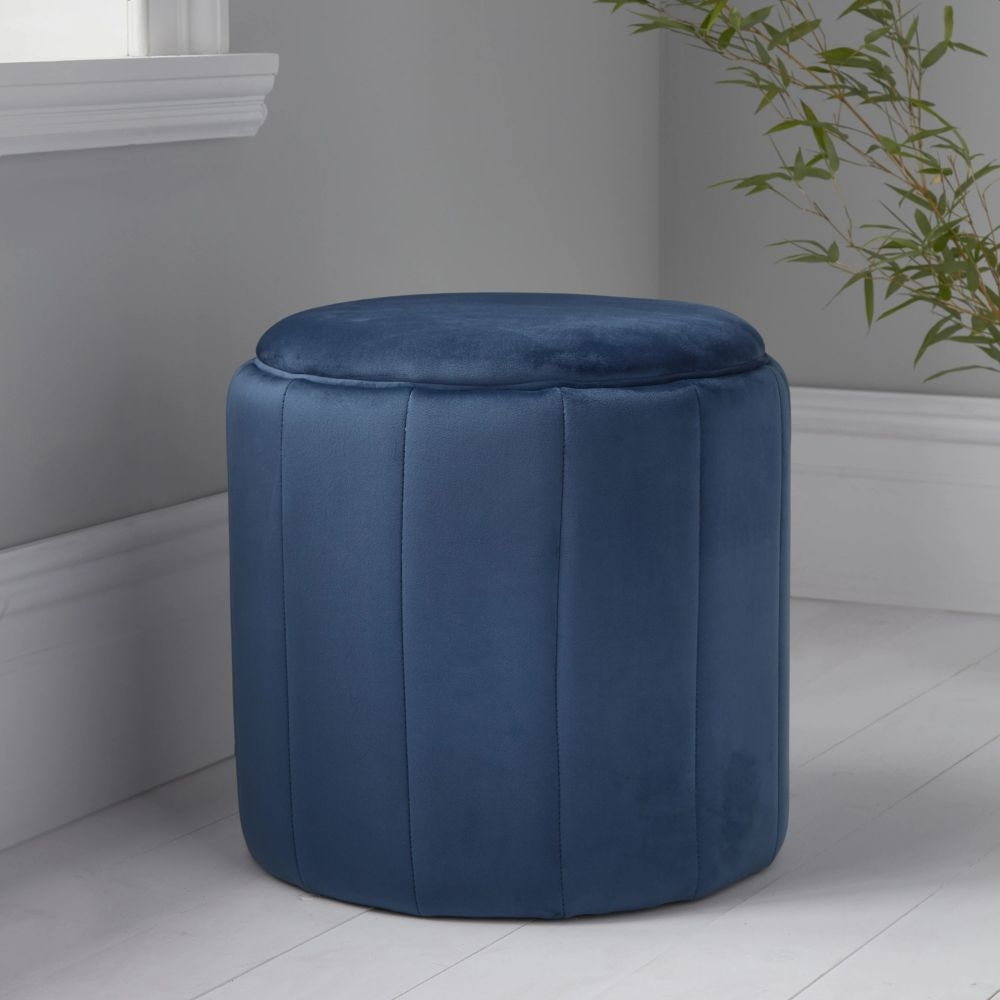 Mystique Blue Plush Round Stool
