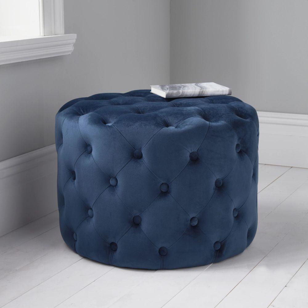 Mystique Blue Tufted Velvet Fabric Round Pouffe