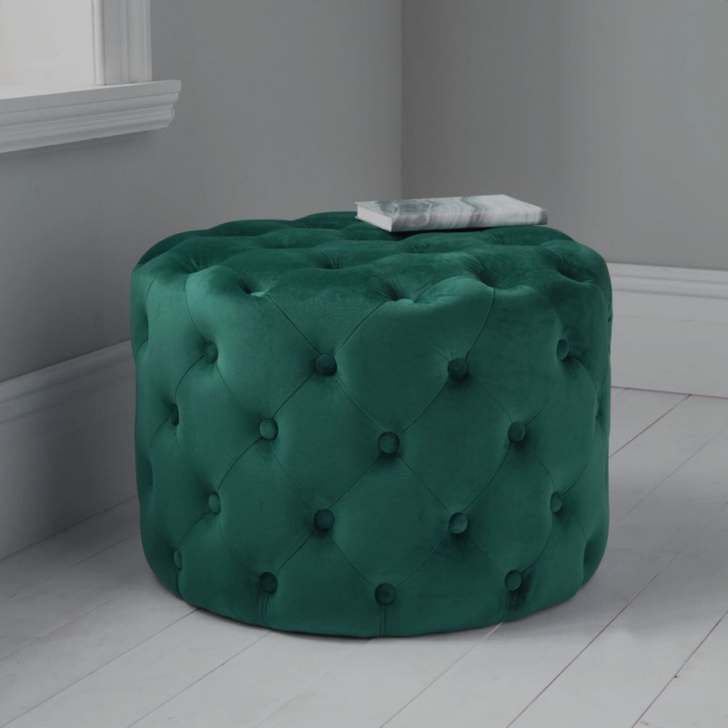 Dark Green Tufted Velvet Fabric Round Pouffe