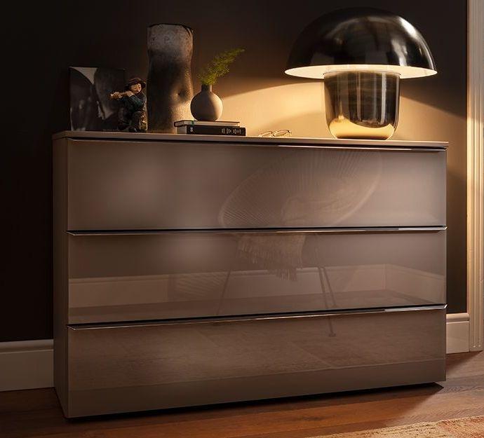 Nolte Akaro Brown Velvet with Brown Velvet Glass 3 Drawer Chest - W 120cm