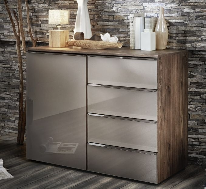 Nolte Akaro Imitation Macadamia Nutwood with Frosted Glass Silk Grey 1 Door 4 Drawer Right Hand Facing Chest - W 100cm