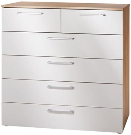 Nolte Akaro Imitation Sonoma Oak with Polar White 6 Drawer Chest - W 100cm