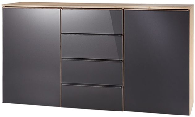 Nolte Akaro Imitaton Sonoma Oak with Graphite Glass 2 Door 4 Drawer Chest - W 150cm