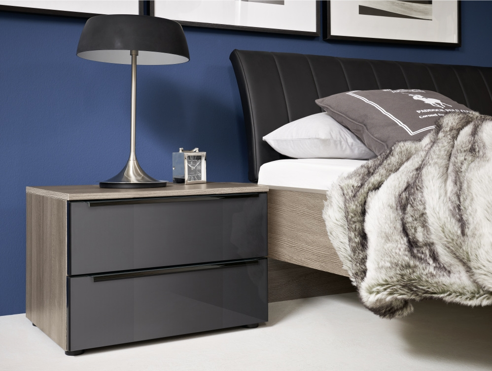 Nolte Alegro Style Bedside Cabinet with Glass Front