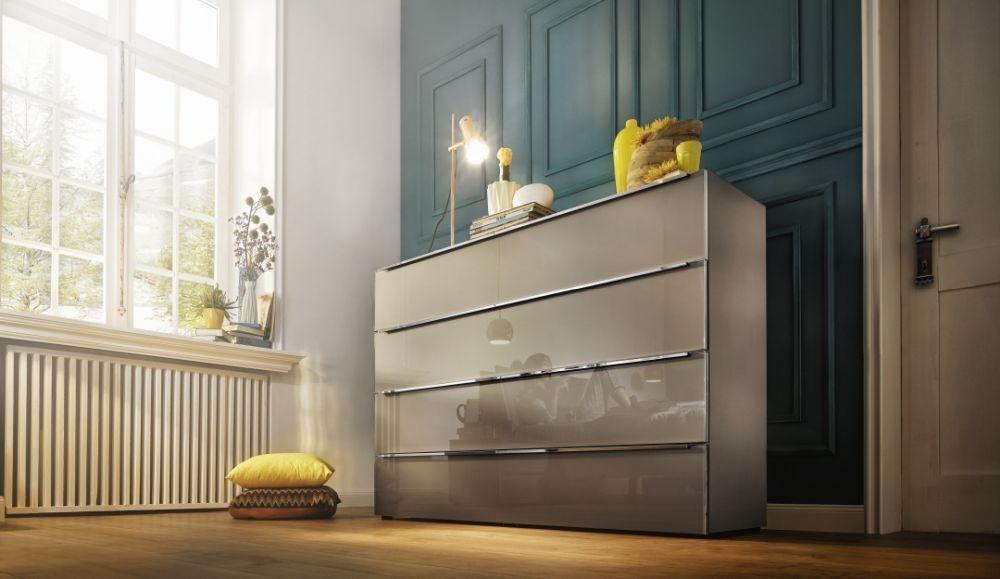 buy nolte alegro style chest of drawer with glass front. Black Bedroom Furniture Sets. Home Design Ideas