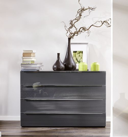 Nolte Alegro Style Imitation Macadamia Nutwood with Graphite Glass 4 Drawer Chest with Glass Top Board - W 120cm
