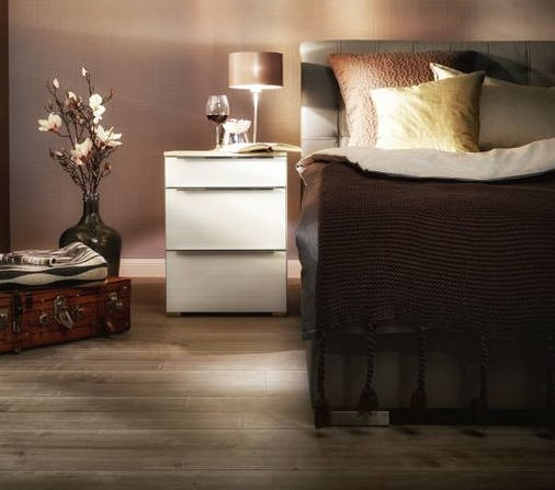 Nolte Alegro Style Imitation Sonoma Oak with White Glass 3 Drawer Bedside Chest with Wooden Top Board - W 80cm