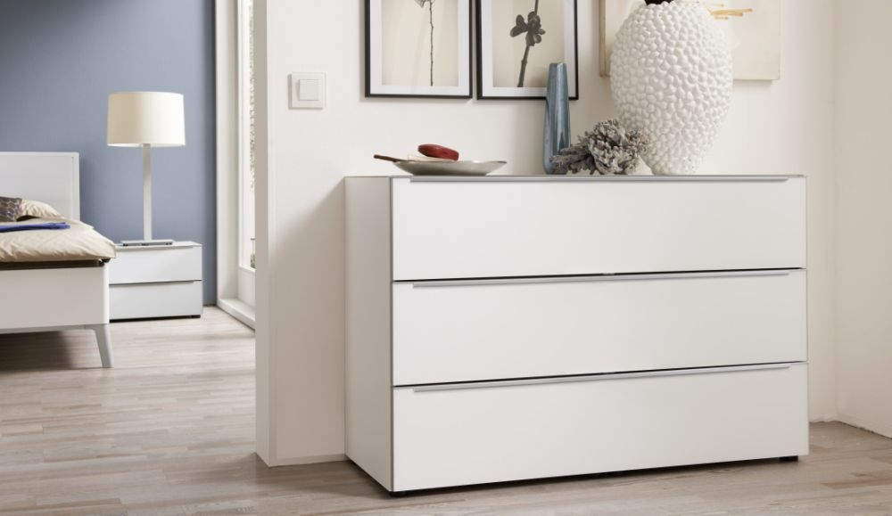 Nolte Alegro Style Polar White 3 Drawer Chest with Wooden Top Board - W 120cm