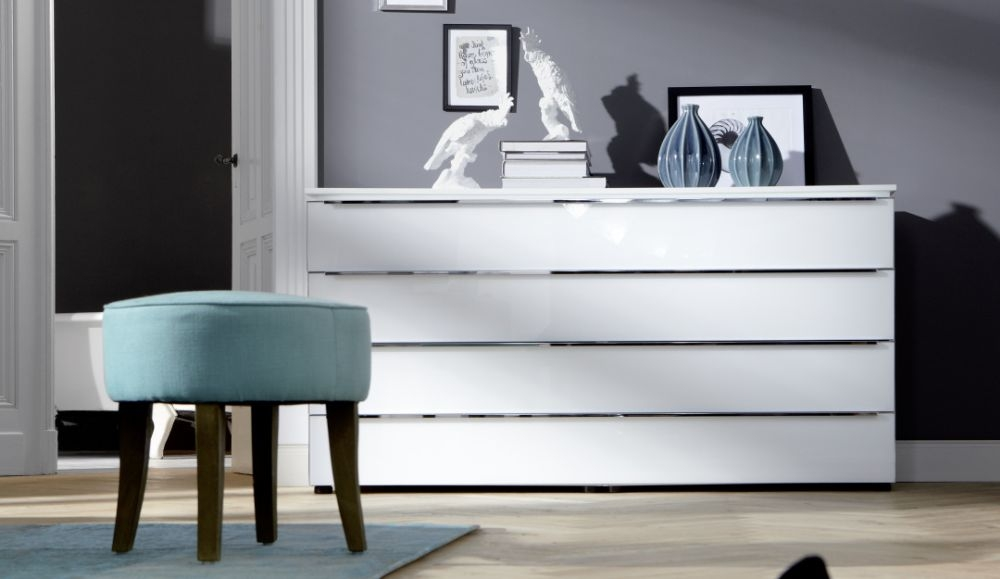 Nolte Alegro Style Polar White with White Glass 4 Drawer Chest with Glass Top Board - W 120cm