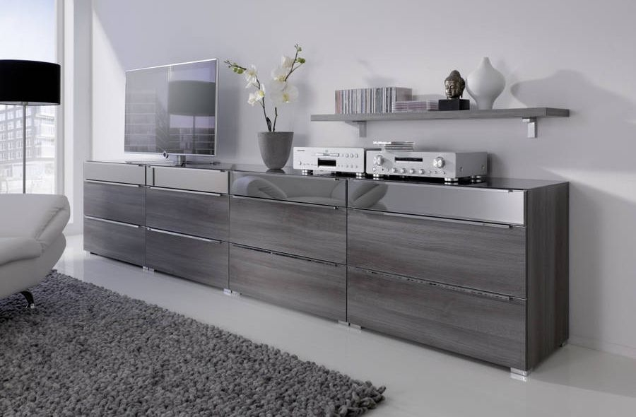 Nolte Alegro Trend Imitation Dark Chocolate Oak with Graphite Glass 12 Drawer Chest with Glass Top Board - W 160cm