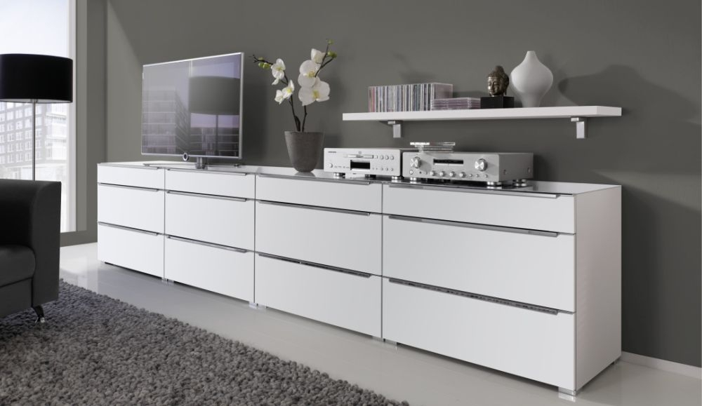 Nolte Alegro Trend Polar White 12 Drawer Chest with Glass Top Board - W 200cm