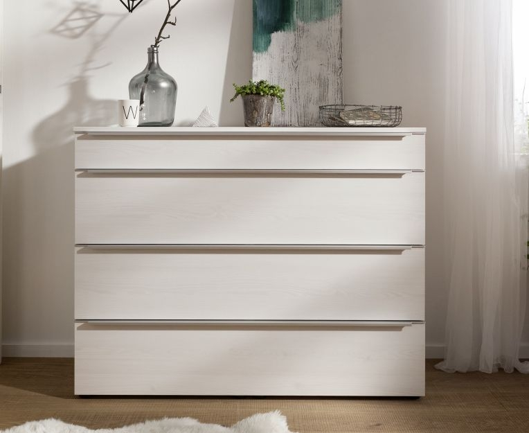 Nolte Alegro Trend Polar White 4 Drawer Chest with Wooden Top Board - W 40cm