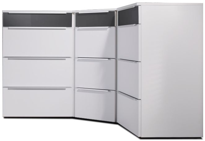 Nolte Alegro Trend Polar White with Graphite Glass 12 Drawer Corner Chest with Wooden Top Board - W 150cm