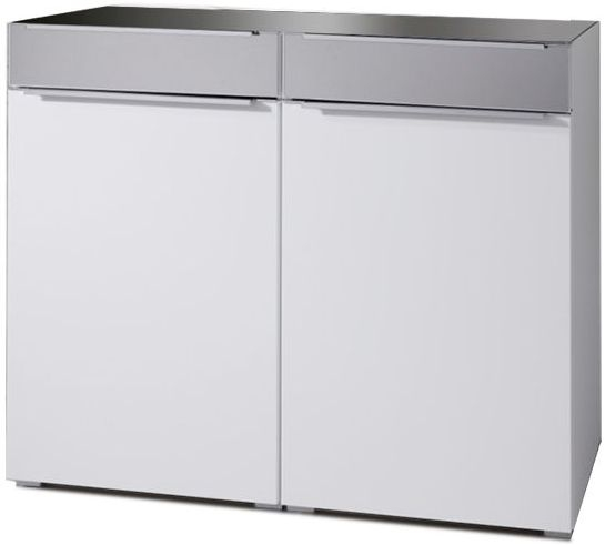 Nolte Alegro Trend Silk Grey with Polar White 2 Door 2 Drawer Combi Chest with Glass Top Board - W 120cm