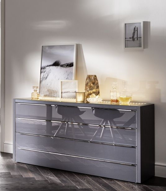 Nolte Attraction Lumina Graphite with Graphite Glass 4 Drawer Chest with Lighting Top Board - W 127cm