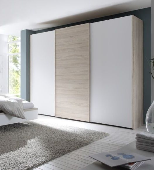 Nolte Attraction Wood Imitation Icona Beech with Polar White 3 Door Sliding Wardrobe - W 270cm