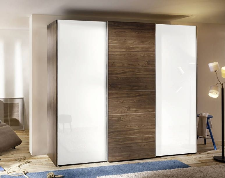Nolte Attraction Wood Imitation Macadamia Nutwood with White Glass 3 Door Sliding Wardrobe - W 240cm