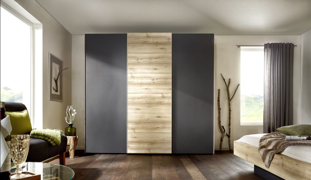 Nolte Attraction Wood Imitation Sonoma Oak with Graphite 3 Door Sliding Wardrobe - W 240cm