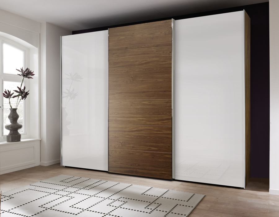 Buy nolte attraction wood and glass sliding wardrobe for Back painted glass designs for wardrobe