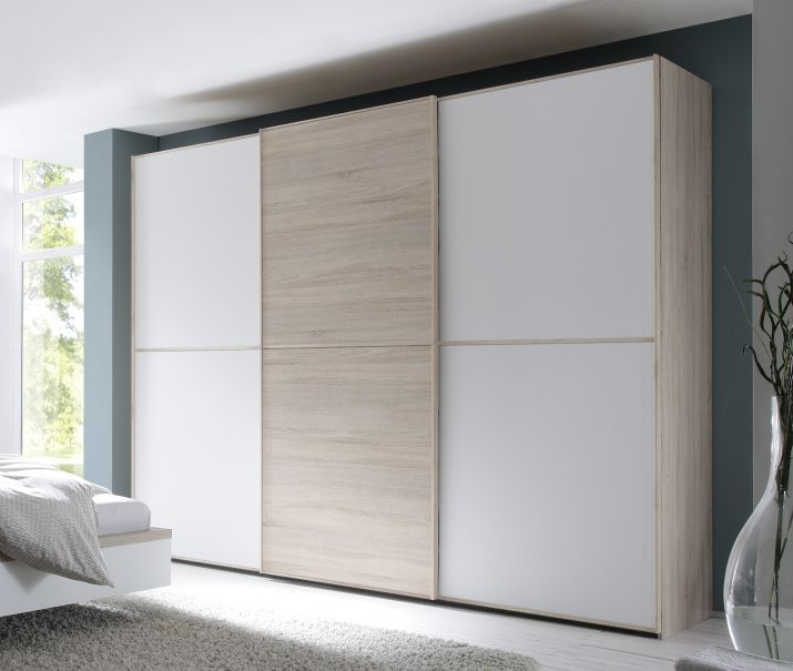 Nolte Attraction Version 2A Imitation Sonoma Oak with White Glass 3 Door Sliding Wardrobe - W 270cm