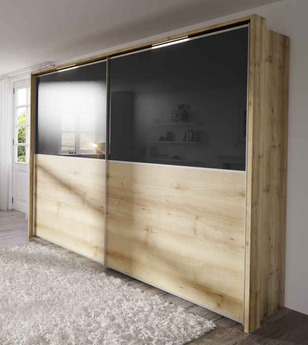 Nolte Attraction Version 2B Imitation Icona Beech with Graphite Glass 2 Door Sliding Wardrobe with Pelmet and Passe partout - W 280cm