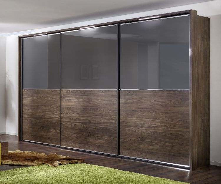 Nolte Attraction Version 2B Imitation Macadamia Nutwood with Graphite Glass 3 Door Sliding Wardrobe with Pelment and Passe partout - W 270cm