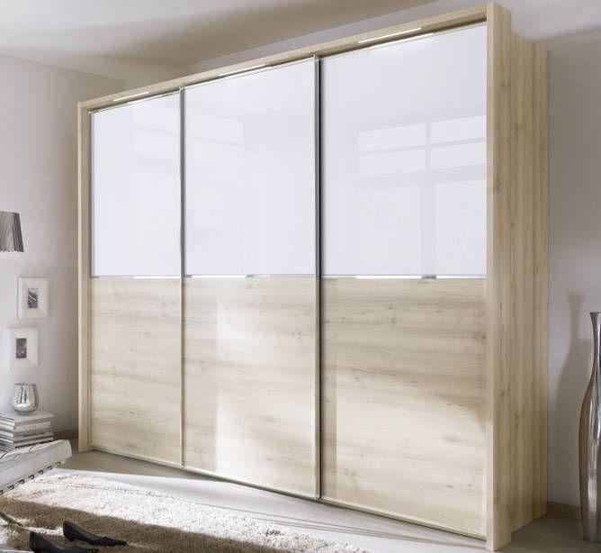 Nolte Attraction Version 2B Imitation Sonoma Oak with White Glass 3 Door Sliding Wardrobe - W 270cm