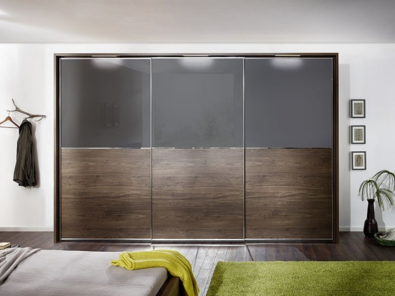 Nolte Attraction Version 2B Sliding Wardrobe with Glass and Wooden Front