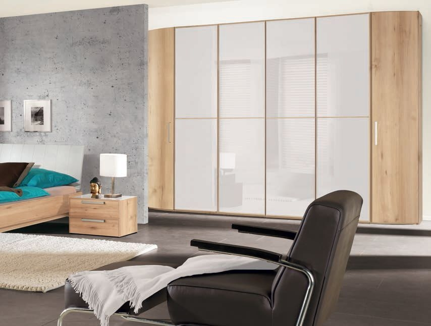 Nolte Attraction Version 3 Hinged Wardrobe with Wooden and Glass Front