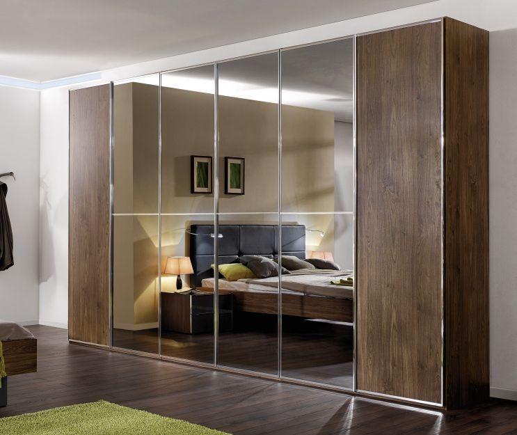 Nolte Attraction Version 3 Imitation Macadamia Nutwood with Grey Mirror 6 Door Hinged Wardrobe - W 360cm